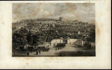 Pere La Chaise Cemetery Funeral Paris c. 1855 original antique view print