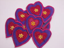 Set of 10 - Blue Purple Pink Love Heart Embroidered Crafts Motifs Swatches #6R40