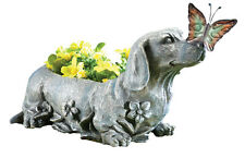 Dachshund with Butterfly Sculpted Garden Planter, by Collections Etc
