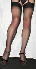 5 Pairs Black Sheer 15 Denier Stockings One Size Hi Quality Vintage Two Tone Top