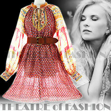 VINTAGE INDIAN 70s DRESS BOHO 10 12 14 16 18 20 OSFA HIPPY 60s WEDDING GAUZE FAB