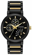 New Bulova 98C124 Two Tone Black Ion & Gold Tone Stainless Day Date Men's Watch