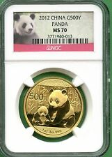 CHINA  2012 PANDA GOLD  1 OZ  500 YUAN  NGC MS 70
