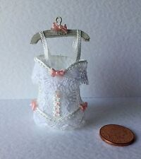 1:12  Dolls House miniature Handmade WHITE LACE CORSET ON HANGER