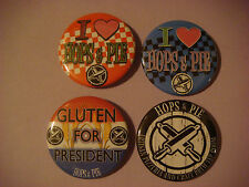 4 BEER BUTTONS Pinback  ~*~  HOPS & PIES Pizza and Craft Beer ~ Denver, COLORADO