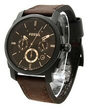 FS4656 NEW FOSSIL MEN BROWN DIAL CHRONO LEATHER BAND WATCH
