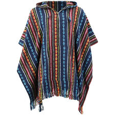 HIPPIE HOODIE PONCHO ETHNIC MEXICAN STYLE GHERI COTTON FESTIVAL Blue & Red