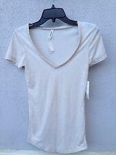 $40 NWT Colorfast Brand Soft Off White V Neck T Shirt Size L