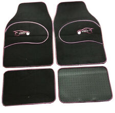 VW Bettle Lupo Universal PINK Trim Black Carpet Cloth Car Mats Set of 4