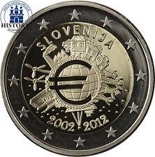 Eslovenia 2 euros conmemorativa 2012 pp 10 años euro-efectivo en münzkapsel