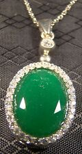 """Genuine 8 ct Emerald Pendant Sterling Silver Oval Pendant 17"""" Necklace"""