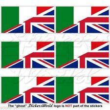 ITALIE-UK Vol Drapeau Italienne UK Cellule Téléphone Autocollants 40mm x6