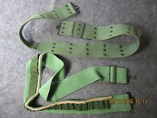 2 heavy duty green military army web belts cargo belt multi use hunting hiking