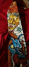 TATTOO Leather Guitar strap Asian oni mask dragon  koi adjustable 3.5 in wide