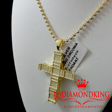 Men Women 14k Yellow Gold Over 925 Sterling Silver Cross Pendant Charm Chain Set