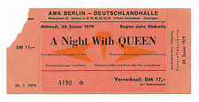 QUEEN   :  LIVE KILLERS 1979 CONCERT TICKET STUB - BERLIN, GERMANY 24.01.1979