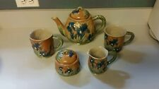BEAUTIFUL Majolica 1994 HENRIKSEN Tea Pot,Sugar bowl,Creamer and Mugs EXCELLENT
