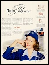 1944 American Airlines stewardess art Pilots Love Pretty Noses duBarry print ad