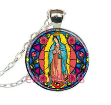 Our Lady of Guadalupe Cabochon Tibetan silver Glass Chain Pendant Necklace @1193