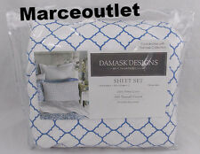 Charter Club Damask Designs 500 Thread Count QUEEN Sheet Set Geo Blue