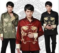Chinese men's silk Dragon Kung FU party/casual jacket/coat SZ M L XL 2XL 3XL