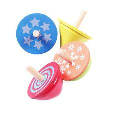 4pcs Wooden Classic Gyro Peg-top Educational Spinning Top Kid Child Toy Set