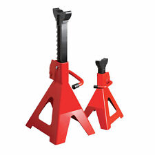 Pair Of 3 Ton Steel Jack / Axle Stands Steel Frame Lifting Hydraulic Stand Wood