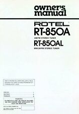 Rotel RT-850A Tuner Owners Manual