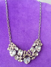 Betsey Johnson Authentic NWT Silver-Tone Crystal Gem Frontal Statement Necklace