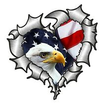 Ripped Torn Metal Look HEART With American Eagle & US Flag car sticker Decal