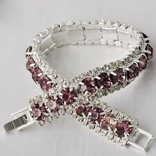 Wedding jewelry Womens White Gold Plated/Silver purple Crystal Tennis Bracelet