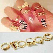 7X Gold Skull Bowknot Heart Design Nail Simple Mid Finger Top Stacking Ring Set