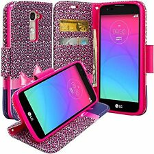 For LG K7 / Tribute 5 / Treasure LTE Hybrid Leather Wallet Pouch Case Flip Cover