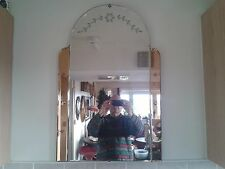MAGIFICENT ART DECO 3 PANELLED PEACH 1930's VINTAGE FRAMELESS WALL MIRROR