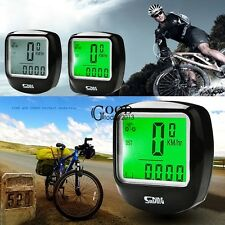 Bike Bicycle LCD Cycle Computer Odometer Speedometer W Green Backlight