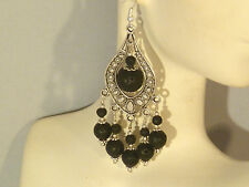Gemstone Earrings - Black Lava Rock & 925 Sterling Silver - long chandeliers