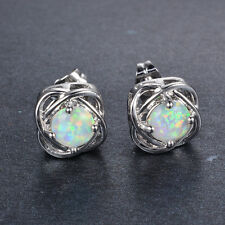 Sweet Four Claw White Fire Opal Stud Earrings Women's White Gold Filled Jewelry