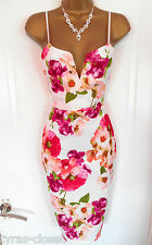 Ivory Pink Floral Pencil Wiggle Cocktail Wedding Races Party Dress Size 10 BNWT
