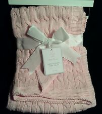 Little Luxury Layette Cotton Cable Knit Baby Blanket Pink NWT