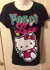 EUC Hello Kitty Peace Love Psychedelic 60's Black T-Shirt Adult XL
