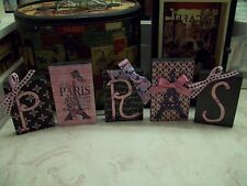 Shabby Paris decor blocks sign pink black papers  French decor Eiffel Tower