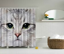 Cool Kitty Meow Cat Face Shower Curtain Tabby Cat Kids Bath Home Decor