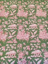 Motif Vintage Wallpaper Chinoiserie Asian Green Pink and Red