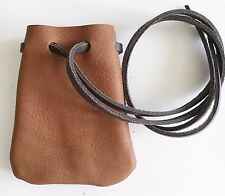Leather Drawstring Medicine Pouch/Necklace--Medieval ReenactmentPouch-SM.Med. BR