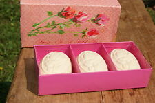 AVON 1968 TO A WILD ROSE 3  CAKES  PERFUMED  SOAP