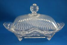 DEPRESSION  GLASS CLEAR FOOTED RECTANGULAR 1# COVERED BUTTER DISH