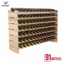 91 Bottles Holder Wine Rack Stackable Storage 7 Tier Solid Wood Display Shelves