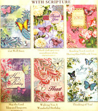 cHRISTIAN sCRIPTURE Set of 6 Assorted Floral Butterfly Greeting Cards  #96731