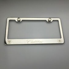 Luxury Chrome Cadillac License Plate Frame Laser Engrave Car Suv Stainless Steel