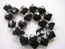 Black onyx faceted diamond beads 14x14mm